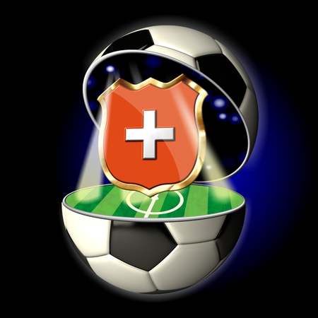Soccer or Football Universe - 2014  Very detailed illustration of a open ball or sphere as a soccer ball  Spotlights highlighting crest of country Switzerland on soccer field in abstract stadion  illustration