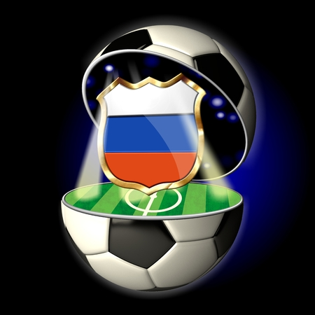 Soccer or Football Universe - 2014  Very detailed illustration of a open ball or sphere as a soccer ball  Spotlights highlighting crest of country Russia on soccer field in abstract stadion