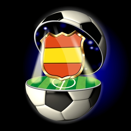 Soccer or Football Universe - 2014  Very detailed illustration of a open ball or sphere as a soccer ball  Spotlights highlighting crest of country Spain