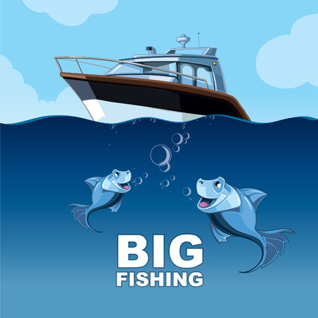 high sea: Vector picture with fishing from the yacht in the high sea