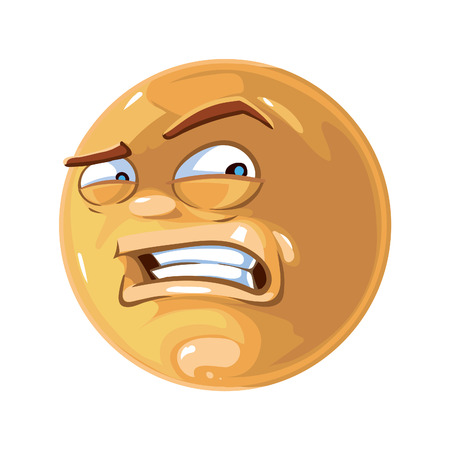 iconography: Vector illustration of angry emoticon