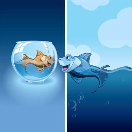 high sea: Love between two small fishes. One orange small fish in an aquarium, the second blue fish on freedom in the high sea
