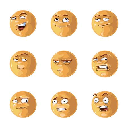 caras graciosas: Ilustraci�n vectorial de las emociones brillantes frescas Pack Foto de archivo