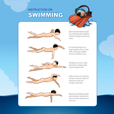 wade: Instruction on swimming. A table template How to learn it is easy to float in the sea