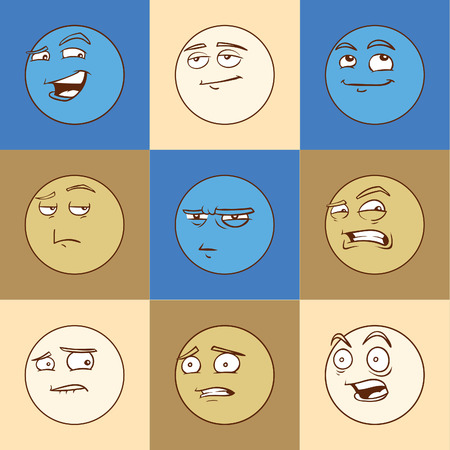 laugh emoticon: Funny cartoon emotional faces set for comics design Stock Photo