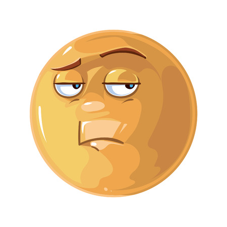 iconography: Vector illustration of  Single bored Emoticon
