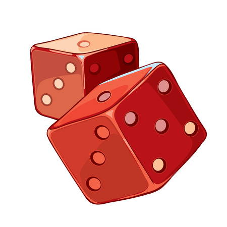 stake: Red and white dice