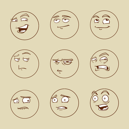 sneer: Funny cartoon emotional faces set for comics design Stock Photo