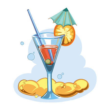 vector icon with summer cocktail. Isolate on white background photo