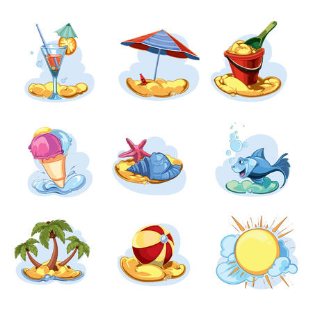 sand beach: funny icon set. summer time
