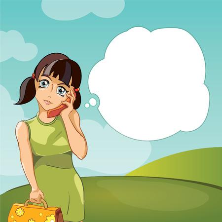persona feliz: Chica hablando por teléfono ilustración vectorial Vectores