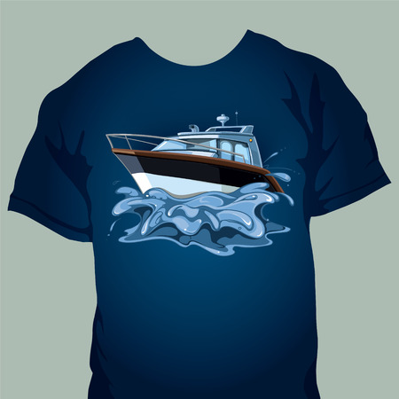 tshirt design with motor boat in the sea. Splashes from the movement of the yacht on waves Vectores
