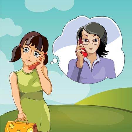 personas comunicandose: Familia de la historieta, dos mujeres, madre e hija hablando por teléfono, ilustración vectorial