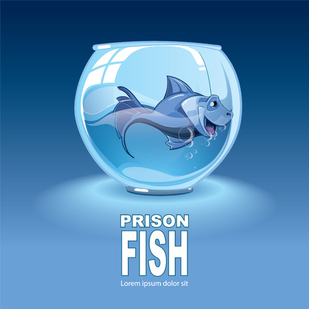 caged: Isolated illustration on dark background with little blue small fish in an aquarium Illustration