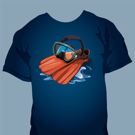 sea  scuba diving: Tshirt design with vector picture. Water mask and red flippers