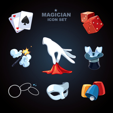 hand holding playing card: magician icons pack