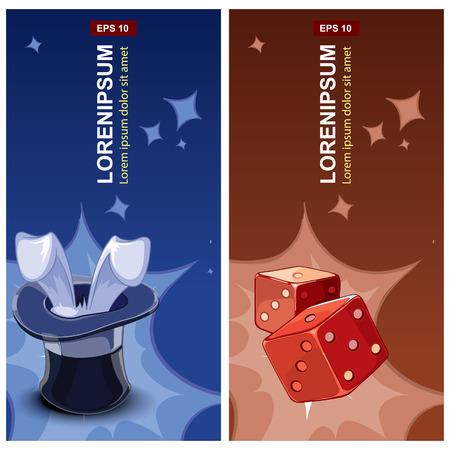 sombrero de mago: etiquetas con sombrero de mago y cubos rojos de los dados Vectores