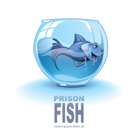 caged: Isolated illustration on white background with little blue small fish in an aquarium