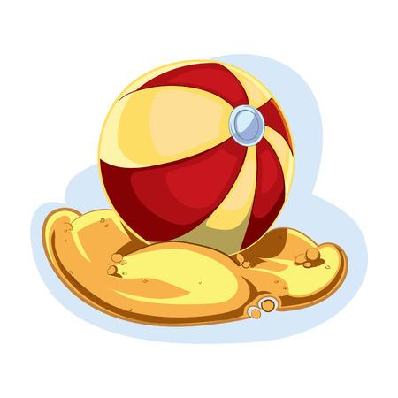 bal: inflatable bal on sand Illustration