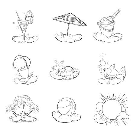 ahogarse: iconos de verano. conjunto de la mano se ahoga