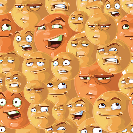 sneer: vector seamless pattern of funny emotions