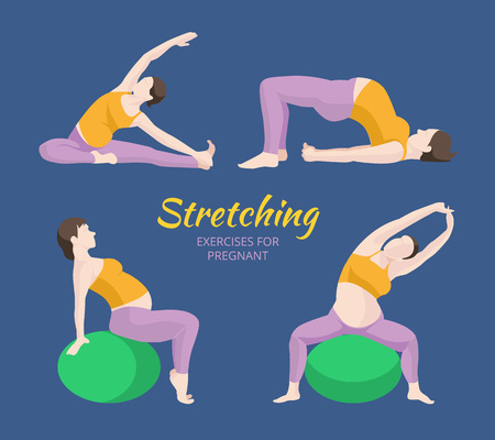 planking: Pregnant Woman Exercise, Yoga, Planking Or Stretching some with Exercise Balance Ball