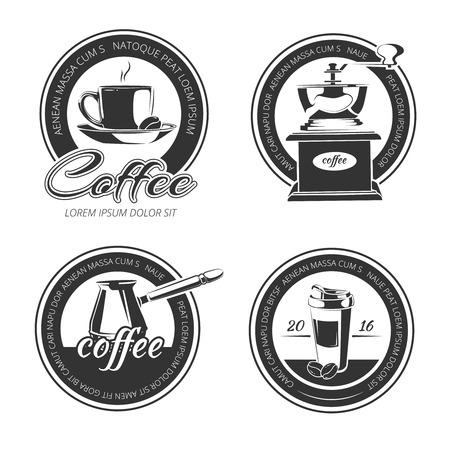 pot holder: coffee vector set of emblems
