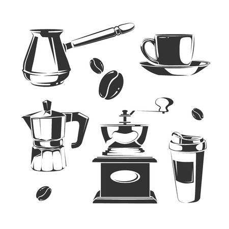 Vector set of coffee making equipment.