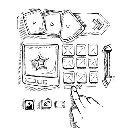 map toolkit: Wireframe UI Kit. Web design portfolio sketch elements. Hand press navigation buton Illustration