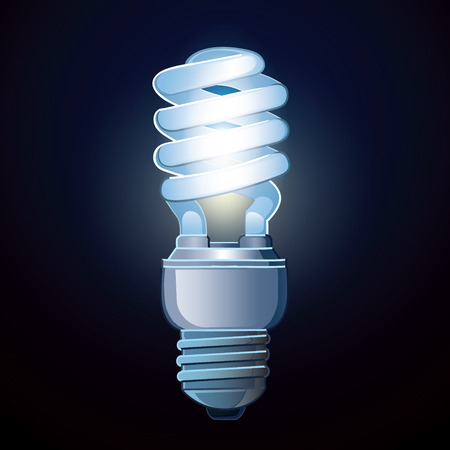 twist cap: Luminescent lamp isolated on dark background. Vector picture realistic