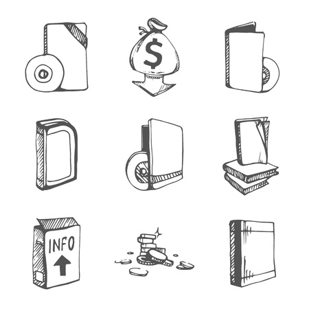 magazine stack: Icons set of empty books and CD boxes. Vector sketch Illustration