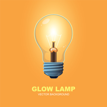 filament: glow lamp on orange background. Vector realistic picture Illustration
