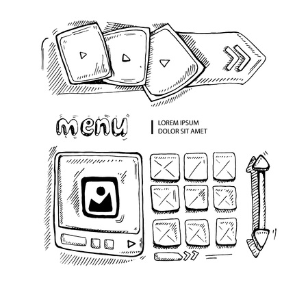 map toolkit: Wireframe UI Kit. Web design portfolio sketch elements isolate on white