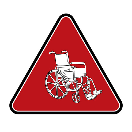 rad: Rad warning sign with a wheelchair. Vector illustration