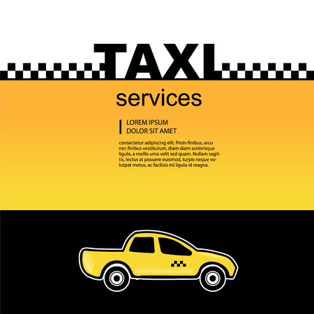 yelow: Taxi service abstract background with text area and one yelow car. Vector illustration