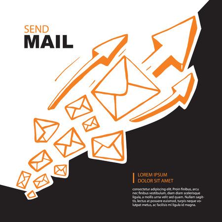 Concetto di immagine con il volo dei grandi leters e frecce arancioni fino verso l'alto. sfondo nero Vettoriali