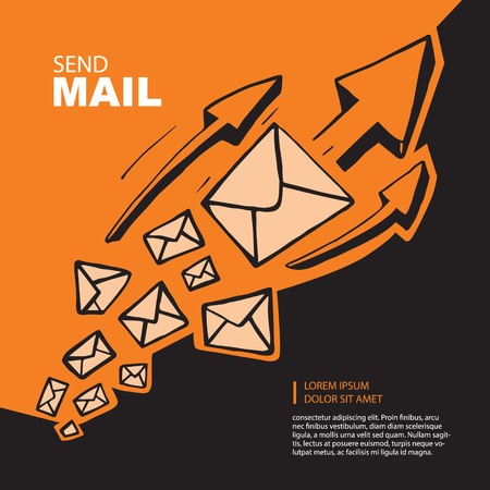email: Concept picture with flying of big leters and arrows to top direction. Hand drown picture on orange background