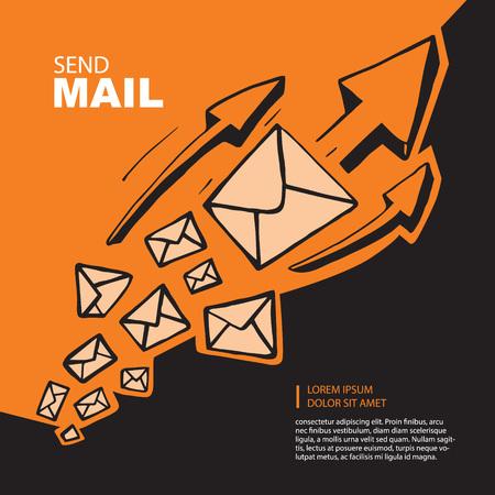 correo electronico: El cuadro del concepto con el vuelo de grandes leters y flechas de la parte superior de direcci�n. la imagen de la mano se ahogan en el fondo de color naranja Vectores