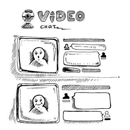 chat window: video chat wireframe web page template. doodle vector Illustration