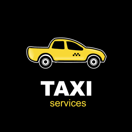 yelow: emblem for taxi service with one yelow car