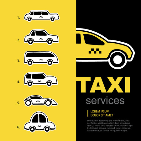 fast driving: vector background with taxi service cars Illustration