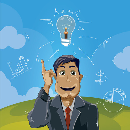 came: the idea came. Businessman pointing top. Concept picture