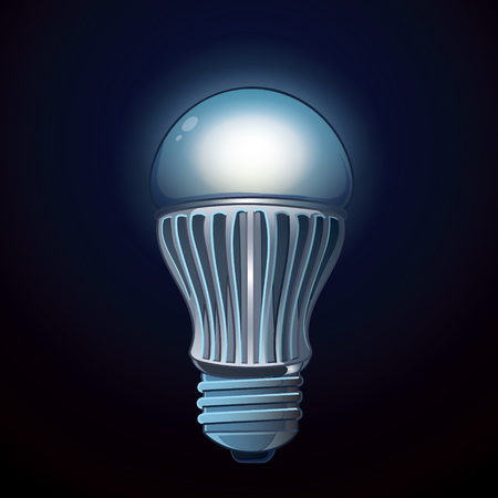 new generation: LED lamp isolated on dark background. Vector picture realistic Illustration