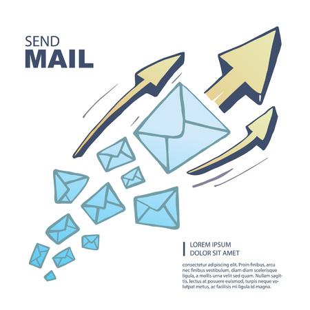 correo electronico: El cuadro del concepto con el vuelo de grandes leters y flechas de la parte superior de direcci�n. Aislar sobre fondo blanco