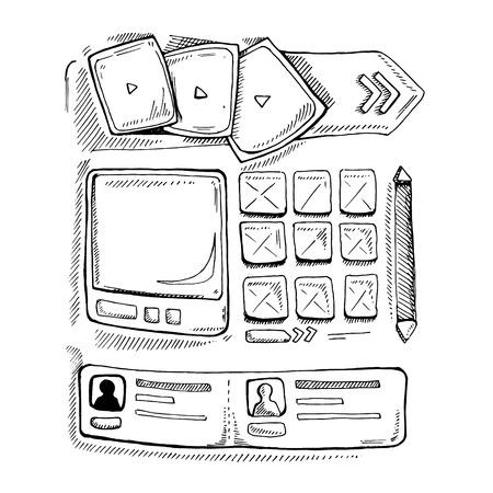 map toolkit: Wireframe UI Kit. Web design portfolio sketch elements. Isolate on white background