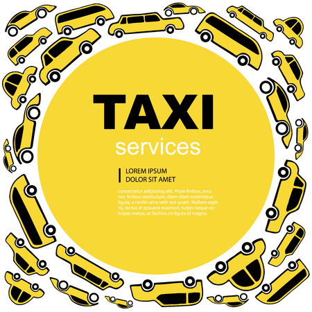 text area: Yellow Vector abstract background wit taxi service cars. Round label with text area. Illustration