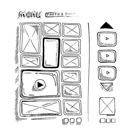 map toolkit: Wireframe UI Kit. Web design portfolio sketch elements isolate
