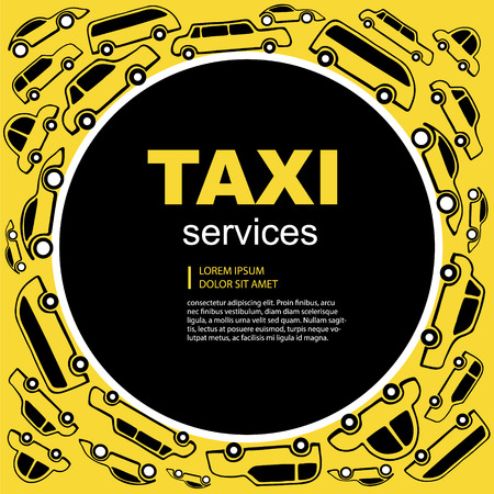 wit: Black Vector abstract background wit taxi service cars. Round label with text area.