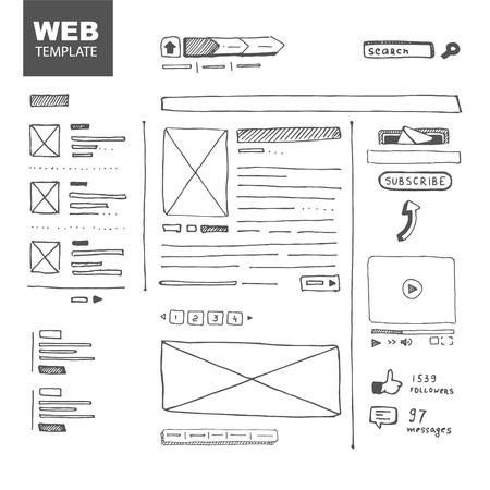 mockup: Vector illustration. Web page sketch Illustration