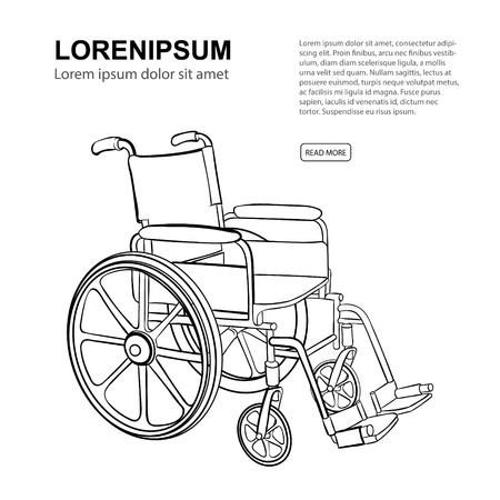 Wheelchair. Vector hand drawn illustration isolate on white background. Website page template